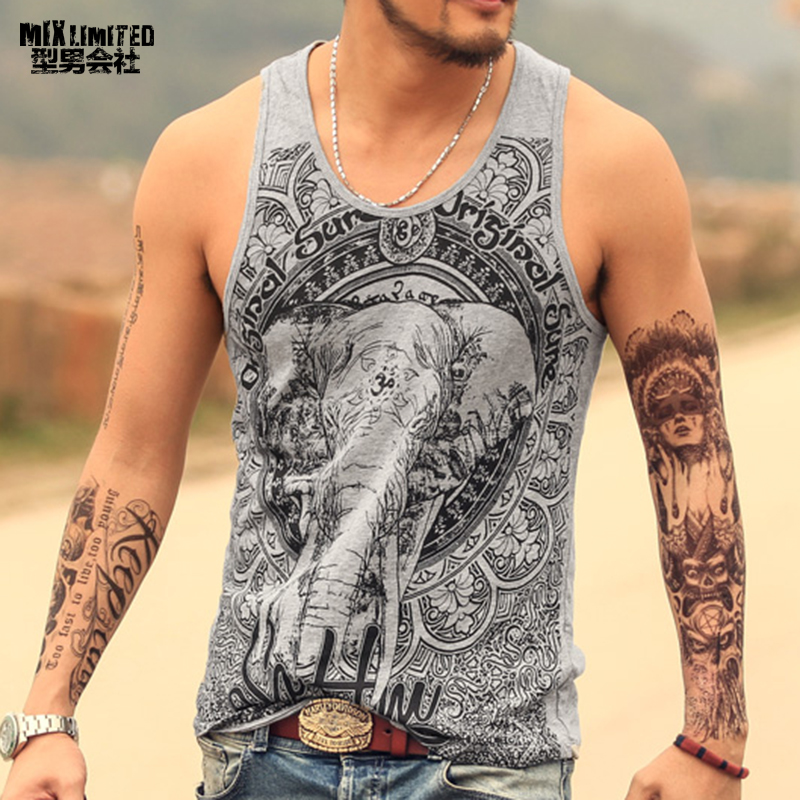 Grey Lelaki Tank Top Casual Fitness Singlets Brand Mens Sleeveless Gasp Hip Hop Vest Elephant Print Cotton undershirt