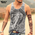 Grey Men Tank Top Casual Fitness Singlets Brand Mens Sleeveless Gasp Hip Hop Vest Elephant Print Cotton undershirt T680