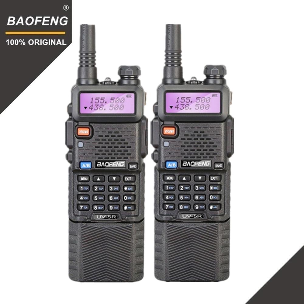 2 pcs Baofeng UV-5R 3800 mah Longue Portée Talkie Walkie 10 km Double Bande UHF et VHF UV5R Jambon Hf émetteur-récepteur Portable UV 5R Radio Station