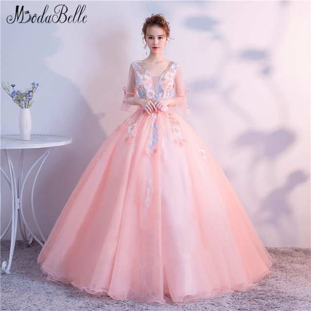 Modabelle Sweet Pink Beautiful Formal Dresses With Bow Flowers Robe