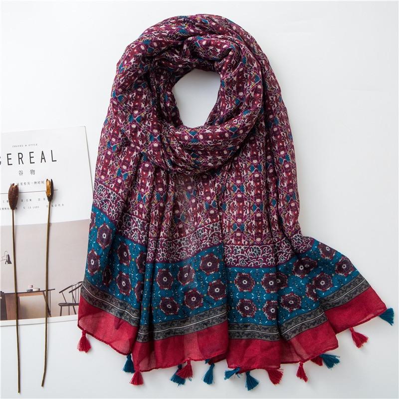 New Women Soft   Scarf   Special Color Large Shawl Vintage Totem Design Print Foulard Long Viscose Hijab Fashionable   Wrap   [3592]