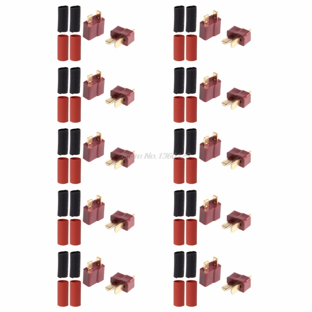 10 Pairs Ultra T-Plug Connectors Deans Style Male Female With 20pcs Shrink Tube AUG_30 Wholesale&DropShip