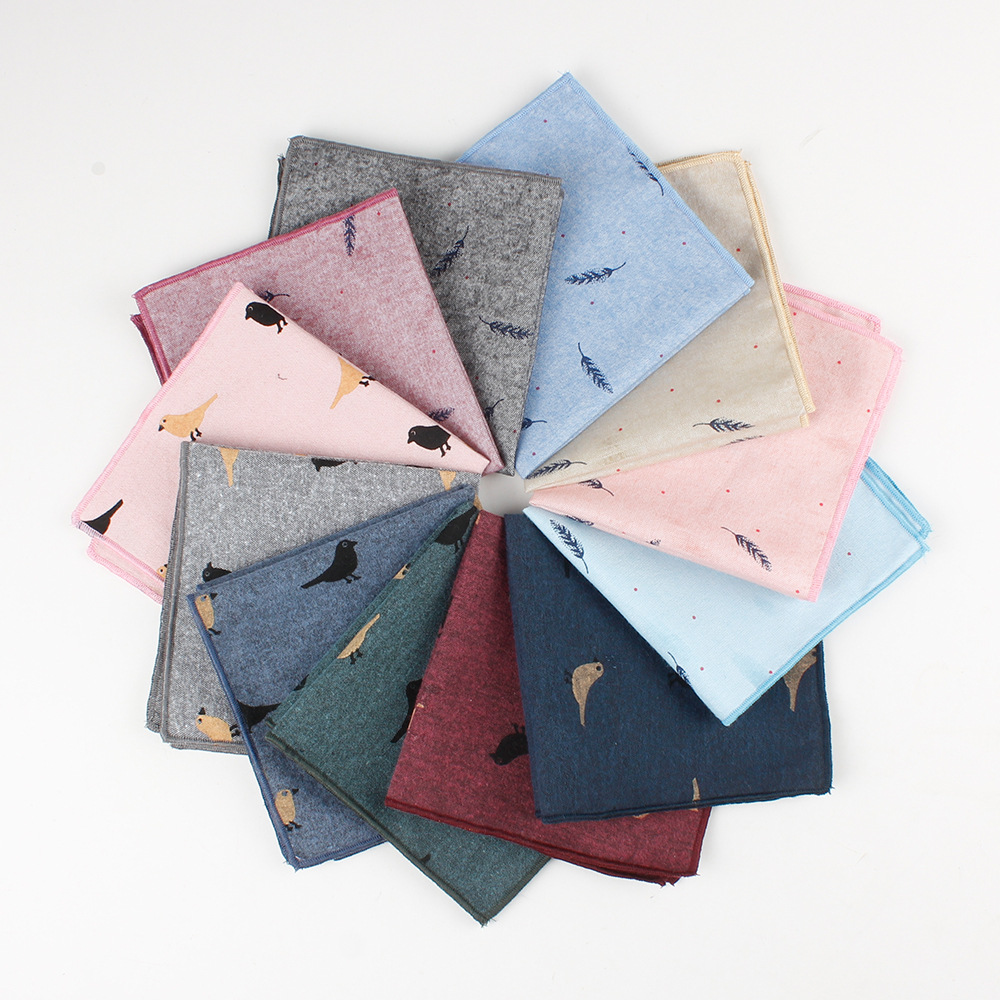 Casual Cotton Men's Handkerchief Birds Feather Printed 12 Colors Soft Pocket Square Ties Business Suits Hankies 24*24cm