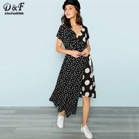 Dotfashion Knot Polka Dot Asymmetrical Dresses Ladies Casual Black and White Female 2018 Summer Short Sleeve A Line Long Dress