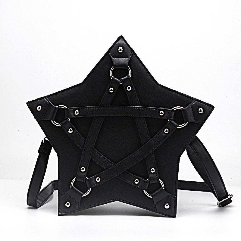 Dark Gothic Pentagram Shoulder Bag Unisex Punk Designer Casual Totes Women Fashion Retro Handbag Gifts