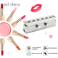 1 Set 12.1mm Aluminium Lipstick Mould 6 Cavities Holes for DIY Lip Mold Filling Mould DIY Waterdrop Shape Lipstick Mold