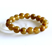 Discount Wholesale Genuine Natural Yellow Gold Hair Rutile Quartz Stretch Bracelet Round Loose beads 12mm Fit Jewelry DIY