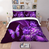 Purple butterfly pattern print bedding set with pillowcase duvet cover set quilt cover new 3pcs bed linen set bed set cover