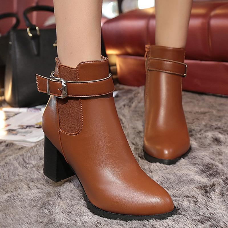 Boots women martin boots autumn women shoes fashion slip-on spike high heel motorcycle boots buckle ladies boot цены онлайн