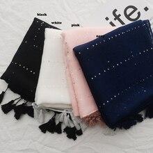 Новые Для женщин Однотонные блесток люрекс кисточкой шарф Качественный хлопок кисточкой шарф 4 Цвета 10 шт./лот