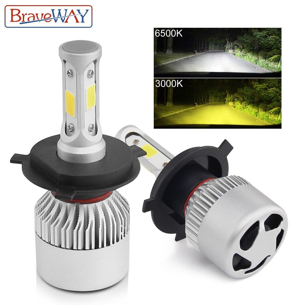 BraveWay H1 H3 H8 H11 LED Double Couleur Ampoule H7 H4 Led Ampoules Double Led Light Car Lampe De Brouillard pour hyundai Renault Lada Kia Skoda Mazda