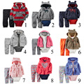 2016 New boys hooded cardigan jacket+Romper +Pant 3 pcs Suit baby boy girl set newborn baby bebes clothes retail