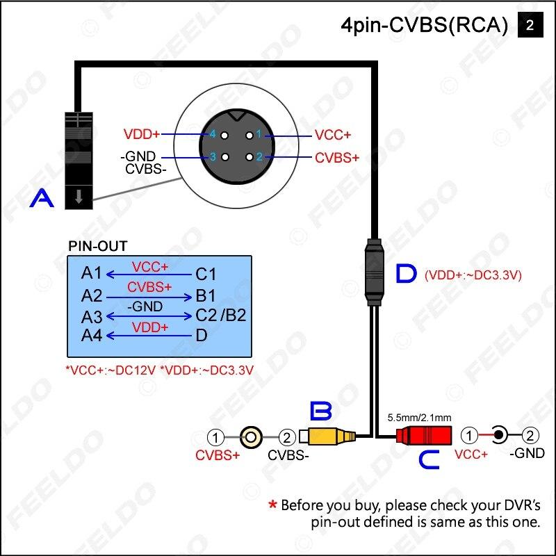 LEEWA 1 шт. Автомобильная резервная копия Камера 4-контактный разъем для CVBS RCA Женский разъем сигнала Мощность адаптер жгута проводов# CA5678