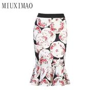 High Quality 2018 Autumn Newest Europe Fashion Flower Print Causual Mermaid Knee Length Fashion Short Bust Skirt Women