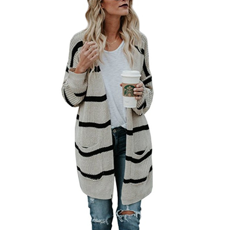 Casual Striped V Neck Long Cardigan Coat Women 2018 Women Autumn Winter Sweaters and Cardigans Oversized Knitted Jacket Women in Cardigans from Women 39 s Clothing
