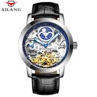 럭셔리 해골 자동 기계식 시계 남성용 손목 시계 가죽 스테인레스 스틸 뚜르 비옹 중공 시계 steampunk mens