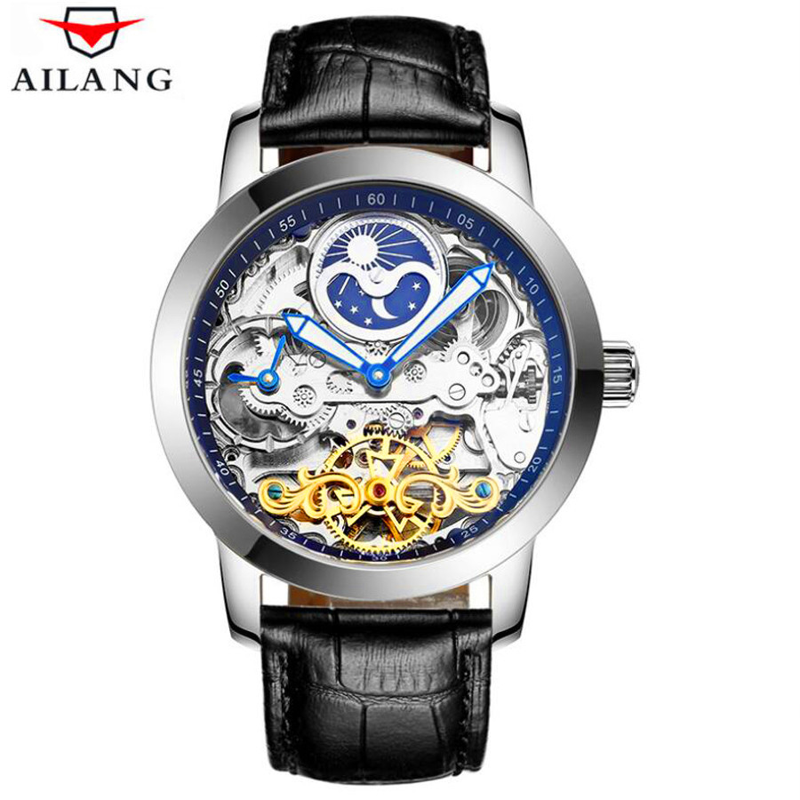 Luxury Skeleton Automatic Mechanical Watches For Men Wrist Watch Leather Stainless Steel Tourbillon Hollow Clock Steampunk Mens otoky unique luxury mens steampunk skeleton stainless steel automatic mechanical wrist watch f30