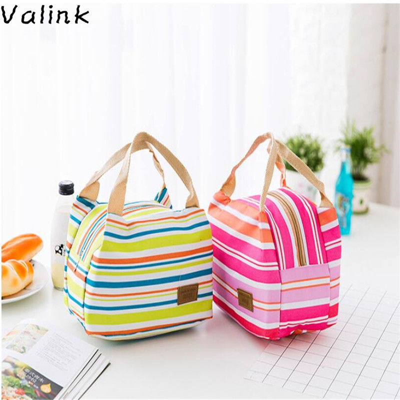 Portable Lunch Bag New Stripe Cooler Bag Thermal Insulation Bags Travel Picnic Food Lunch Box Bag for Women Kids Bolsa Termica gzl new gray waterproof cooler bag large meal package lunch picnic bag insulation thermal insulated 20