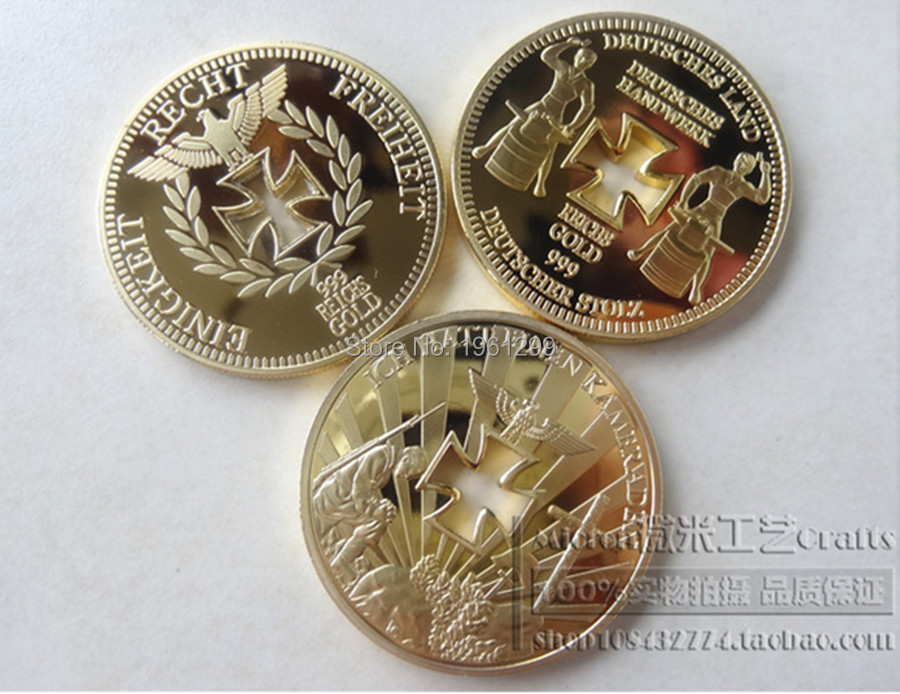Sell like hot cakes!Free shipping!Brand new high quality, three full set of German hollow gold plated COINS