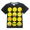 ZiKa Summer Children Clothing 4-12 Years Kids Summer T Shirt Boys Girls Black EMOJI Tops Cartoon Emoticons Short Sleeve Clothes