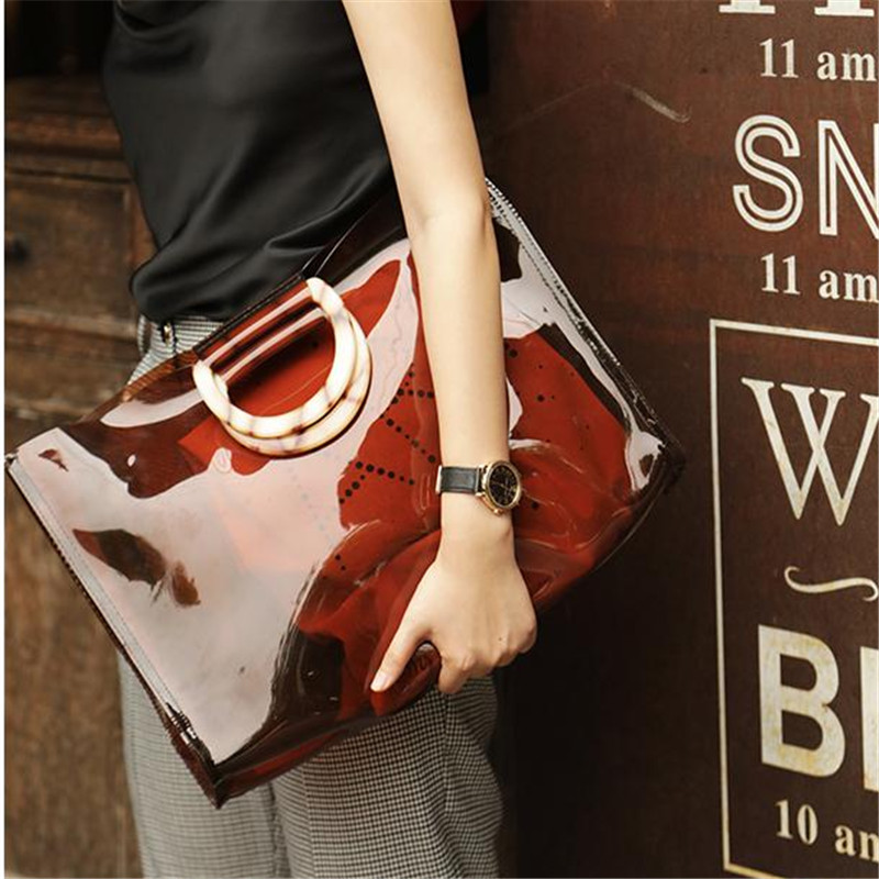 Transparent PVC Acrylic Handbag Fashion Lady Handbag Chic Ins Girls Beach Bag Holiday Plastic Clear Shoulder portable tote bag