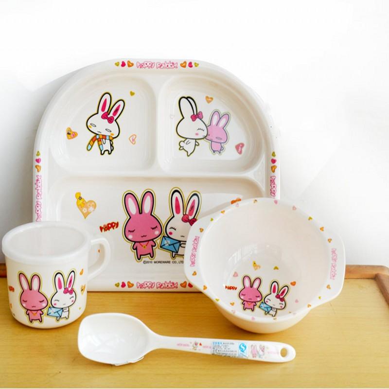 4 / pce मेलामाइन चिल्ड्रन टेबलवेयर सेट कार्टून बेबी चिल्ड्रन सेट बेबी टेबलवेयर बाउल स्पून कप लर्निंग प्लेट व्यंजन भोजन