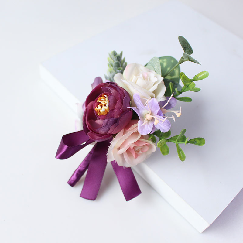 wedding groom boutonniere corsage pin brooch silk flowers  (21)
