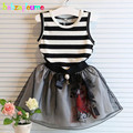 2PCS/2-6Years/Summer Baby Girls Boutique Children Clothing Sets Stripe Black T-shirt+Lace Skirt Korean Kids Clothes Suits BC1293