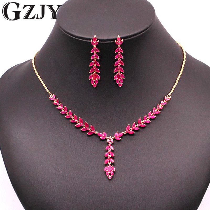 GZJY Elegant Fashion Bridal Jewelry Sets Gold Color Red Zircon Crystal Wicker Necklace Earrings Set For Lady Wedding Evening gzjy gorgeous simulated pearl bridal jewelry sets crystal gold color flower necklace earrings sets wedding jewelry
