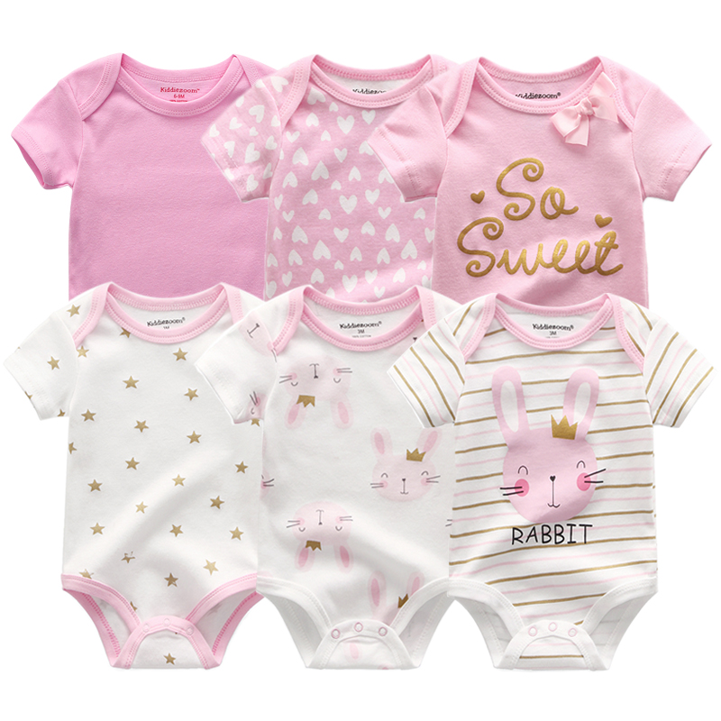 Baby Bodysuits Jumpsuit Onesie Short-Sleeve Summer Clothes Bunny Newborn Cotton Unisex