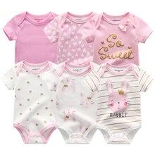 6 шт., летняя одежда с кроликом для новорожденных мальчиков и девочек г. Новые хлопковые комбинезоны для детей, боди с короткими рукавами, Детский комбинезон унисекс