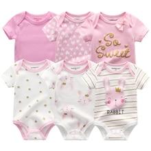 6PCS Newborn Baby Boys Girls Bunny Summer Clothes 2020 New Cotton Baby Bodysuits Short Sleeve body Baby onesie Unisex jumpsuit
