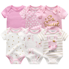 6PCS Newborn Baby Boys Girls Bunny Summer Clothes 2020 New Cotton Baby Bodysuits Short Sleeve body Baby onesie Unisex jumpsuit(China)