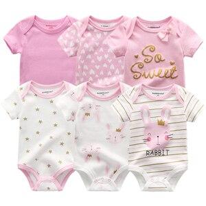 6PCS Newborn Baby Boys Girls Bunny Summer Clothes 2020 New Cotton Baby Bodysuits Short Sleeve body Baby onesie Unisex jumpsuit(China)