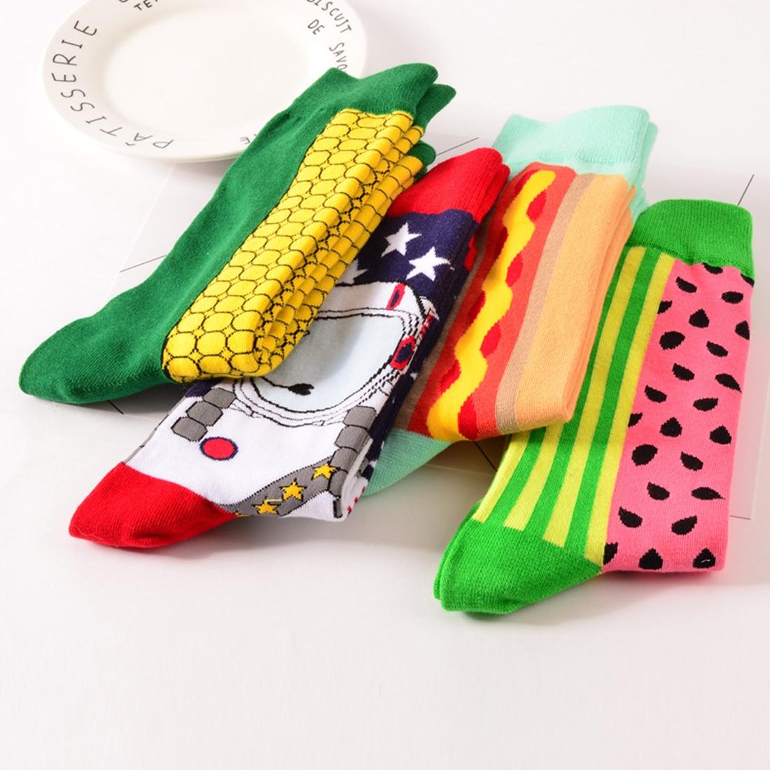 Hot Colour Crew Cotton Happy Socks Men/Women British Style Casual Harajuku Designer Brand Novelty Art For Couple Funny