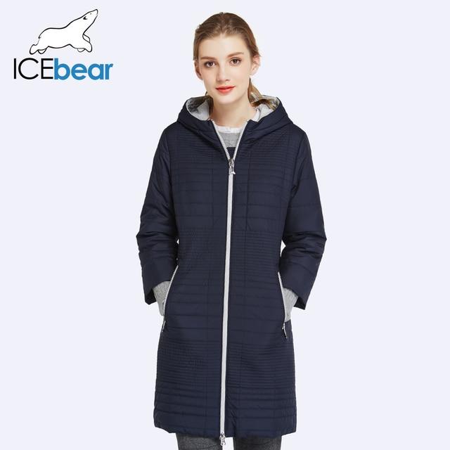 7d18a50acff ICEbear 2017 Весна Осень Длинные Хлопок женские Пальто С Капюшоном Мода  Дамы Ватник Парки Для Женщин