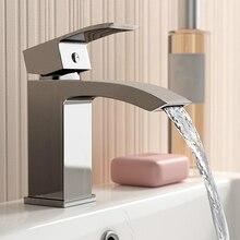 Everso Смесители для умывальника водопад кран для ванной кран раковины водопад один держатель горячей и холодной смесителя раковина