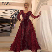 Evening Dress Ladys New Red V-neck Lace Long-sleeved Party Sexy and Sumptuous Trailing YM20278