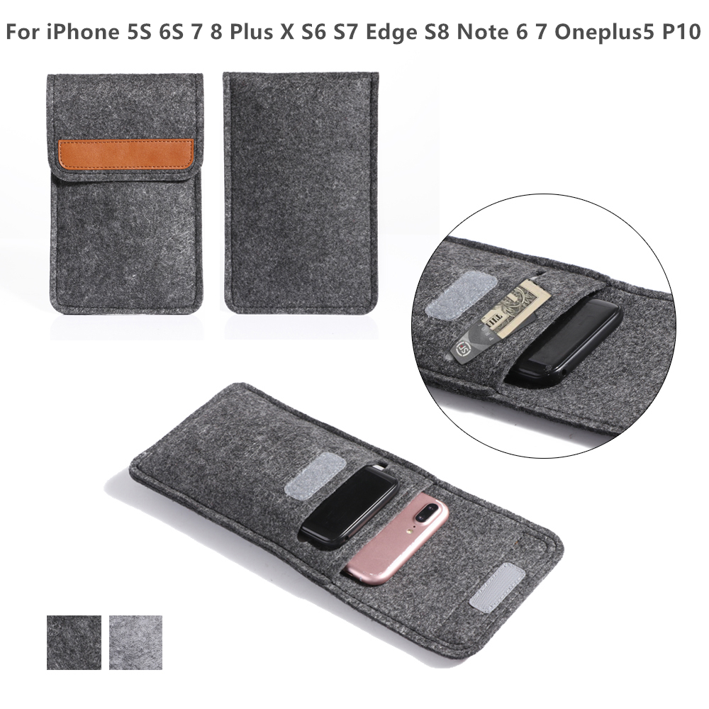 Universal 5.5 Felt Phone Bag Wallet Case For iPhone 5S 6S 7 8 Plus X S6 S7 Edge S8 Note 6 7 Oneplus5 P10 Mobile Pouch Card Hold