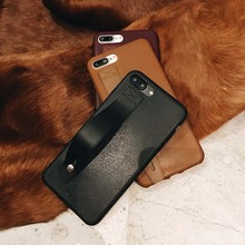 Luxury Business PU Leather Case with Wrist Strap Grip for iPhone 8 plus 6 6s X XS MAX XR Black Cases Holder