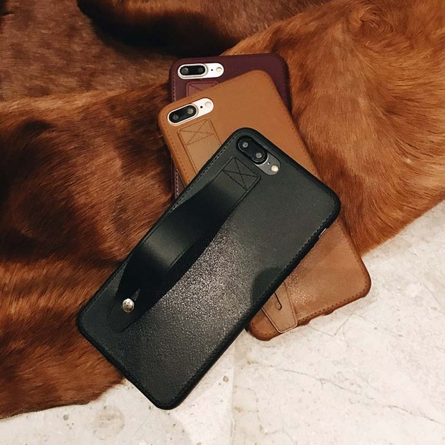 on sale 035bf 3d05a US $2.72 9% OFF Luxury Business PU Leather Case with Wrist Strap Grip for  iPhone 8 plus 6 6s 6 plus X XS MAX XR Black Leather Cases with Holder-in ...