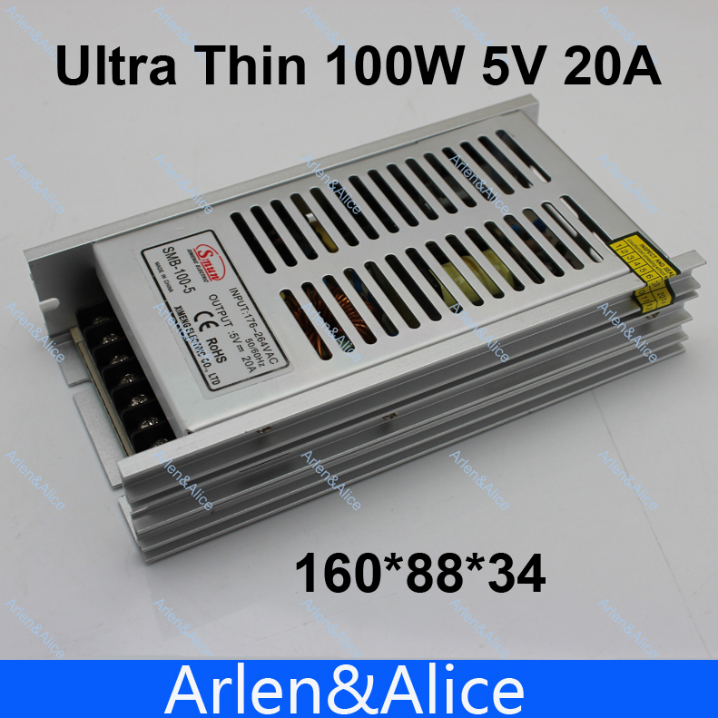 100W 5V 20A Ultra thin Single Output Switching power supply for LED Strip light 20w 24v 1a ultra thin single dc output switching power supply for led strip light smps