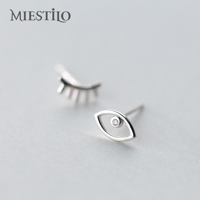 92750184c9851 US $4.7 |MIESTILO 2018 Cute Wink Emoji 100% 925 Sterling Silver Earrings  Mismatched Stud Earrings Sterling silver jewelry Eyelash & Eye-in Earrings  ...
