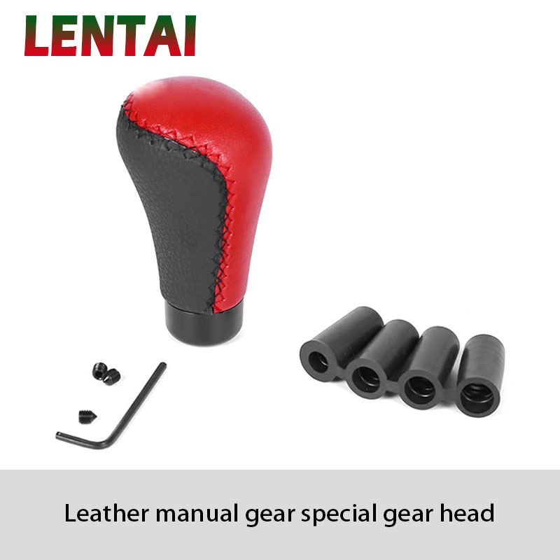 LENTAI For Kia rio ceed sportage Volvo xc90 Seat leon ibiza Lada granta vesta Saab 1Set Car Gear Shift Knob Shifter Knob Leather