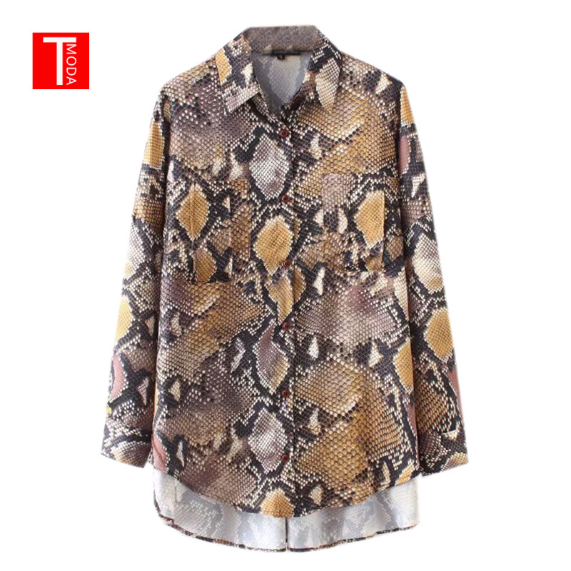 2018 Summer Sexy Snake Print Women's Blouse Casual Button Pocket Women's Clothes Shirt Korean Fashion Women's Chiffon Blouse