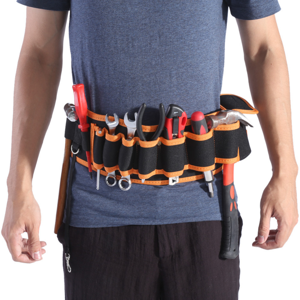 us $11.74 18% off|durable tool bag professional waist bag adjustable belt  hardware electricians repair tools holder pouch pockets organizer bag-in
