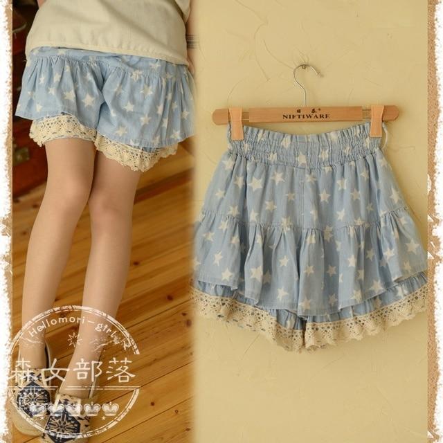 Casual stars Shorts skirts Ruffles Low Waiat Elastice Waist Lace Straight Denim Spliced Japanese Mori Girl