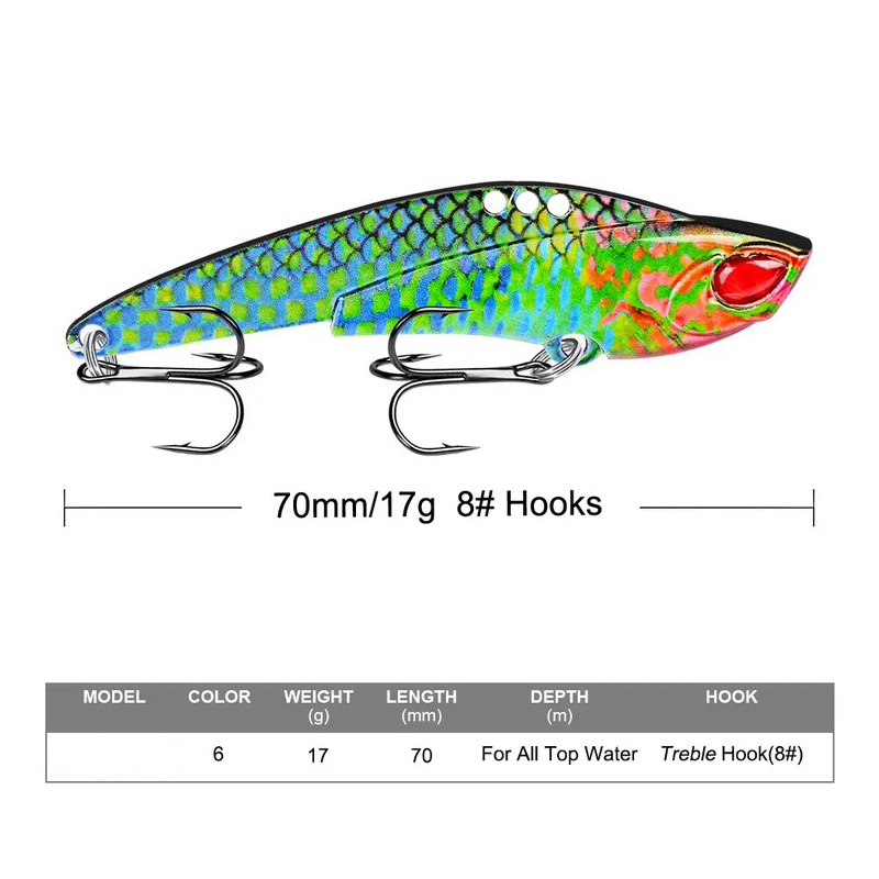 Image 2 - 1Pcs  Metal VIB 17g / 7cm fishing lure vibration Spoon Lure Crankbait Bass artificial hard bait Cicada VIB tackle-in Fishing Lures from Sports & Entertainment