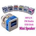 Digital mini altavoz portátil radio fm sd micro/tf del disco del usb MP3 Pantalla LCD de Radio de Radio Por Internet Con la Ayuda del Altavoz SD/TF tarjeta