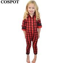 COSPOT Baby Boys Girls Red Plaid Christmas Romper Toddler Kids Cotton Jumper Pajamas Newborn Red Plaid Jumpsuit 2017 New E32 недорого